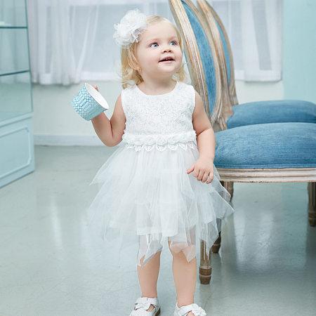 Flower Applique Irregular Tulle Hem Princess Dress