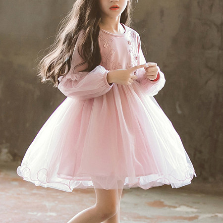 Floral Applique Solid Color Tulle Thickened Dress