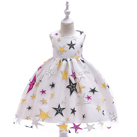 Allover Star Embroidered Self Tie Princess Dress