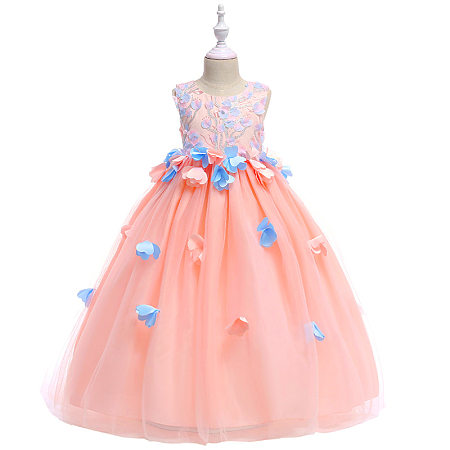 Flower Applique Self Tie Tulle Princess Dress