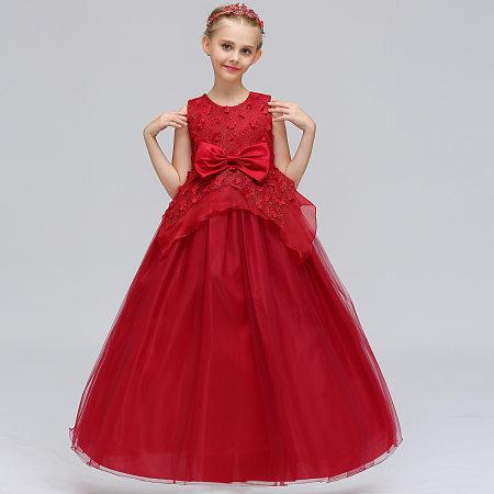 Flower Applique Bowknot Tulle Floor Length Princess Dress