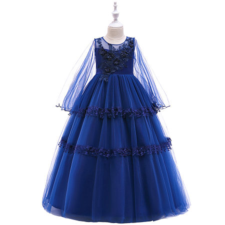 Flower Applique Self Tie Long Sleeve Tulle Princess Dress