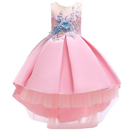 Flower Applique Self Tie Princess Dress