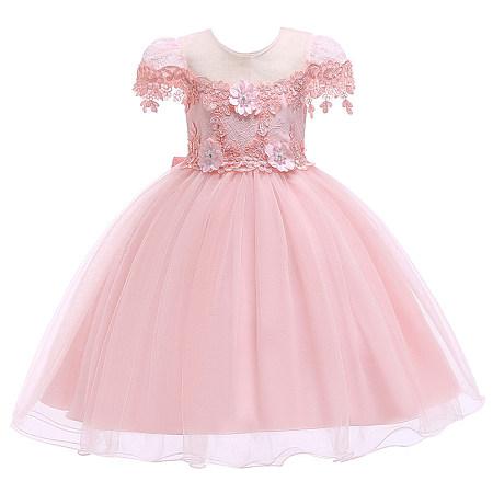Floral Applique Solid Color Bowknot  Tulle Princess Dress