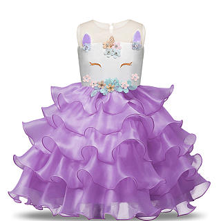 Unicorn Pattern Tiered Hem Princess Dress