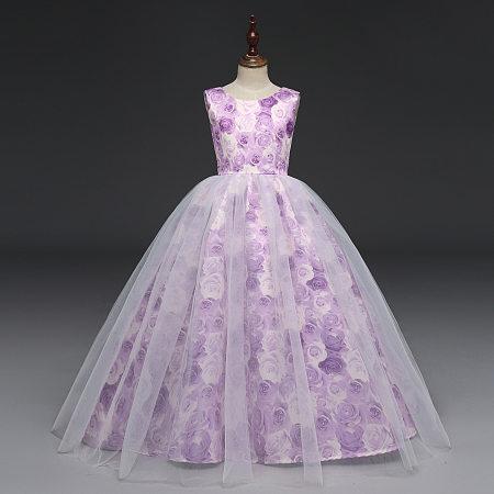 Allover Flower Print Tulle Floor Length Princess Dress