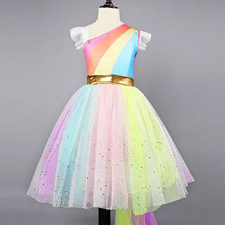 Rainbow Stripe One Shoulder Tulle Princess Dress