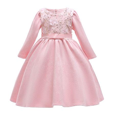Flower Applique Self Tie Back Pink Princess Dress