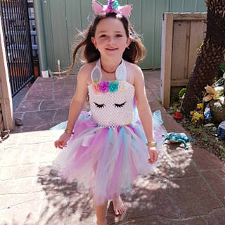 Unicorn Pattern Halter Colorful Tulle Princess Dress