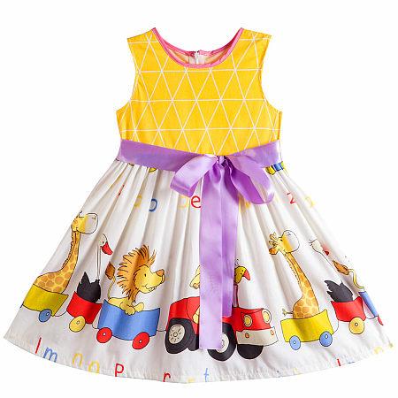 Cartoon Animal Print Sleeveless Self Tie Dress