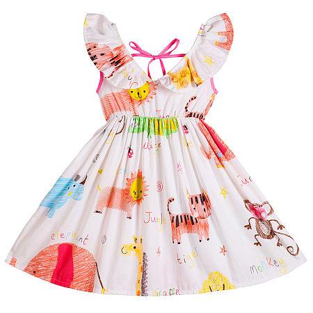 Cartoon Animals Print Backless Ruffle Trim Dress