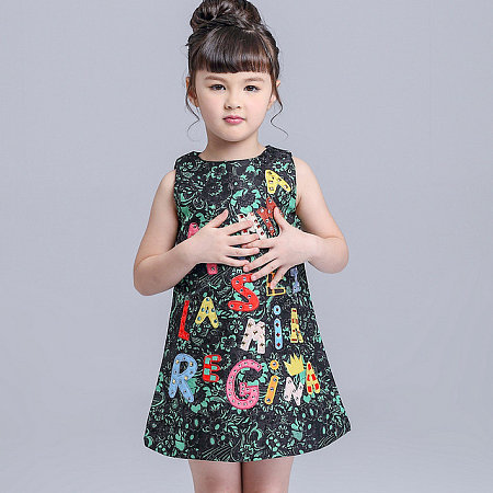 Letter Applique Sleeveless Round Neck Dress