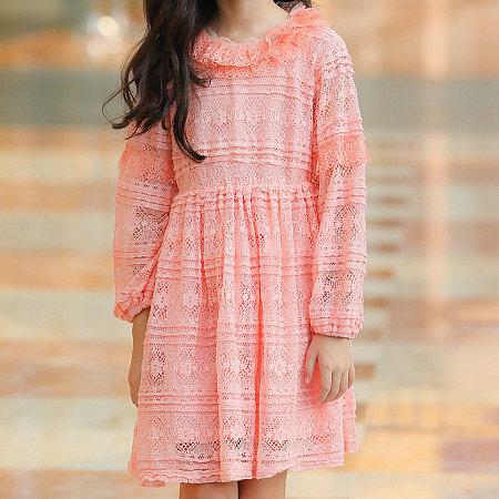 Lace Hollowed Solid Color Long Sleeve Dress