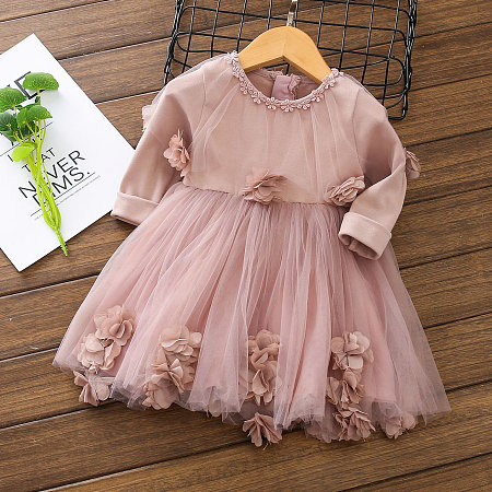Flower Applique Tulle Long Sleeve Pink Dress