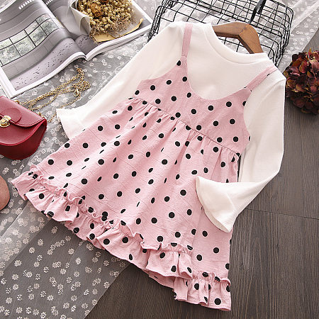 Solid Color Top And Polka Dot Ruffle Trim Skirt Sets