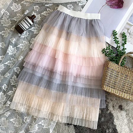 Colorful Tiered Tulle Elastic Waist Skirt