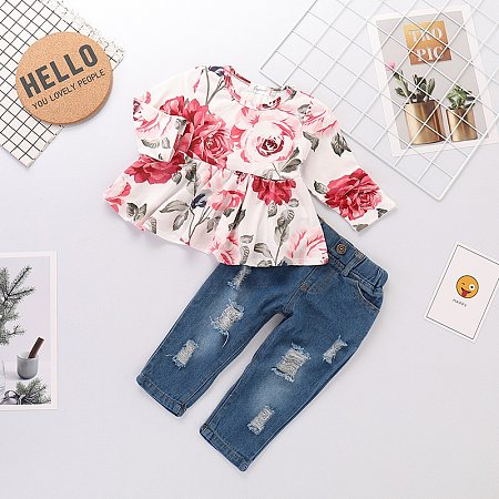 Rose Print Blouse And Shredded Jeans Sets