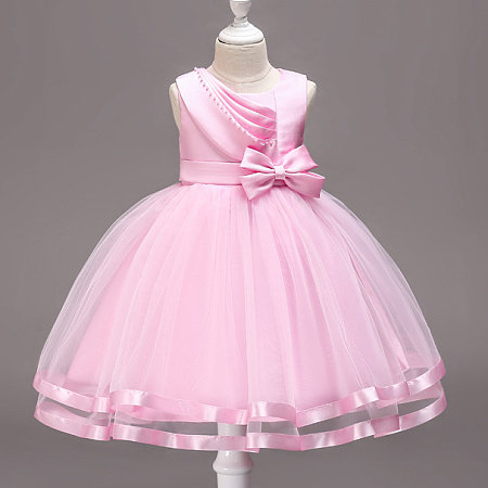 Asymmetrical Ruffle Trim Bowknot Tulle Sleeveless Solid Color Princess Dress