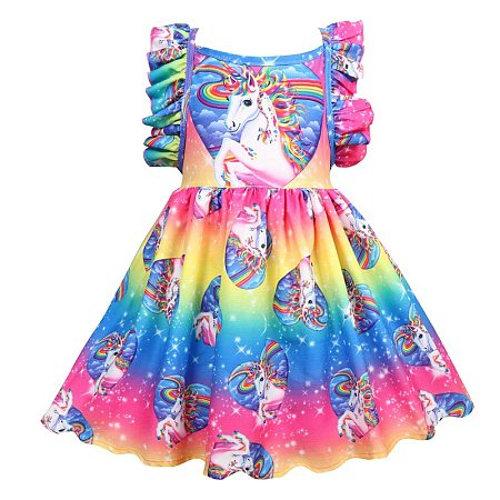 Rainbow Unicorn Pattern Ruffle Trim Dress