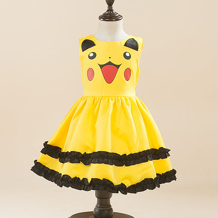 Pikachu Pattern Sleeveless Self Tie Princess Dress