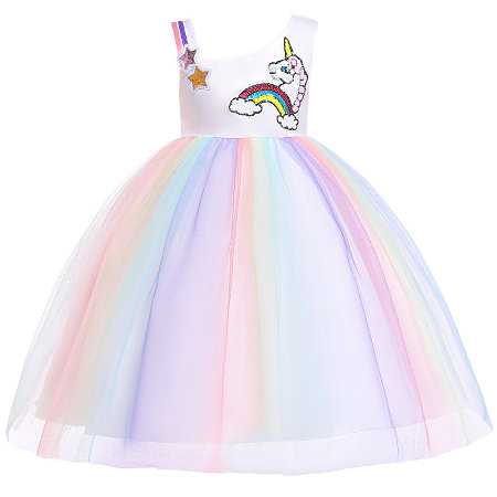 Asymmertrical Unicorn Pattern Colorful Tulle Princess Dress