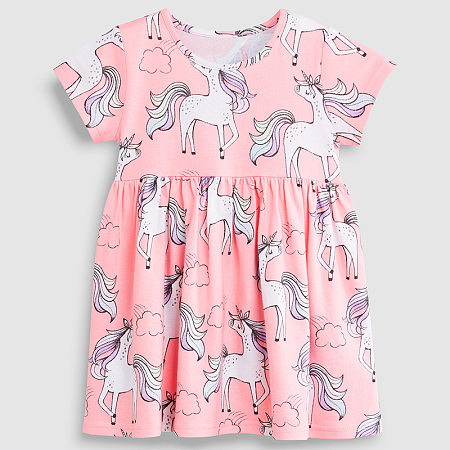 Allover Mixed Print Short Sleeve Dress