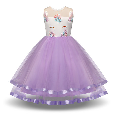 Unicorn Pattern Sleeveless Tulle Princess Dress