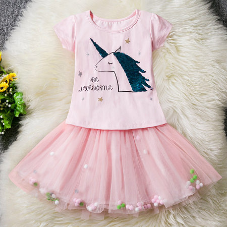 Unicorn Pattern Sequins Short Sleeve Tulle Dress