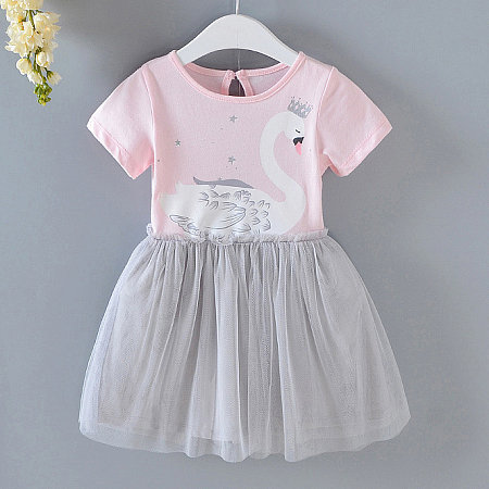 Swan Pattern Short Sleeve Patchwork Tulle Dress