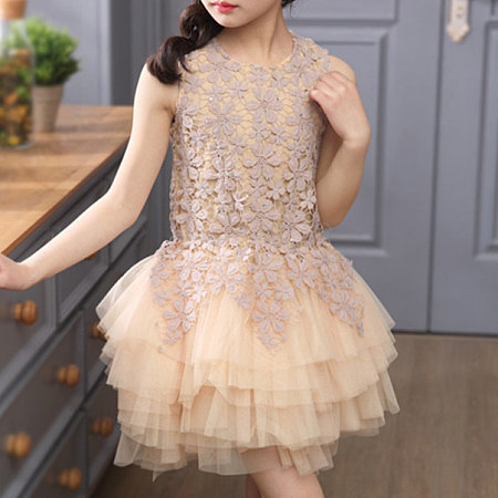 Flower Applique Sleeveless Tiered Tulle Dress