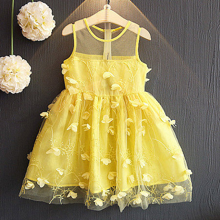 Petals Applique  Tulle Solid Color Sleeveless Dress