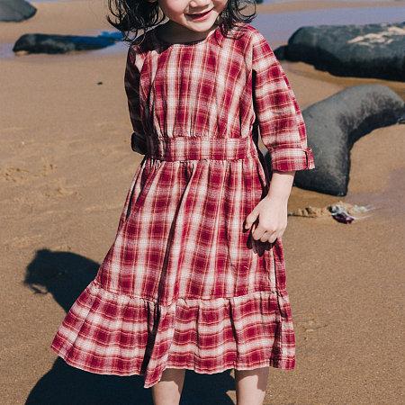 Round Neck Plaid Long Sleeve Dress