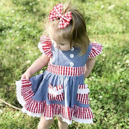 Plaid Fly Sleeve Ruffle Hem Patchwork Dress