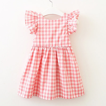 Fly Sleeve Bowknot Ornament Plaid Backless Dress