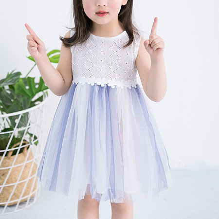 Flower Applique Tulle Sleeveless Dress