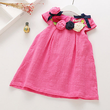 Flower Embellished Linen Solid Color Dress