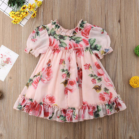 Allover Flower Print Short Sleeve Ruffle Hem Dress, 6801254