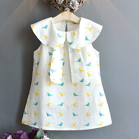 Bird Print Lotus Leaf Collar Dress