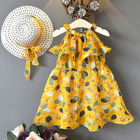 Botanical Print Chiffon Dress With Sunhat, 6811990