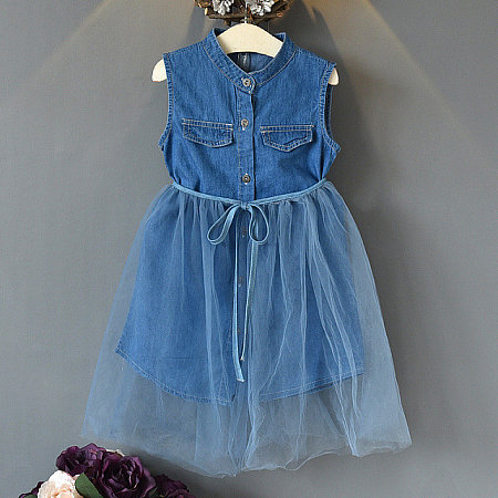 Denim Sleeveless Self Tie Tulle Sets, 6812612