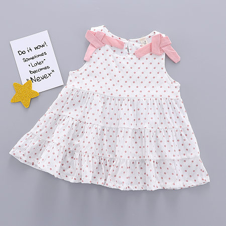 Polka Dot Double Bowknot Dress, 6823306
