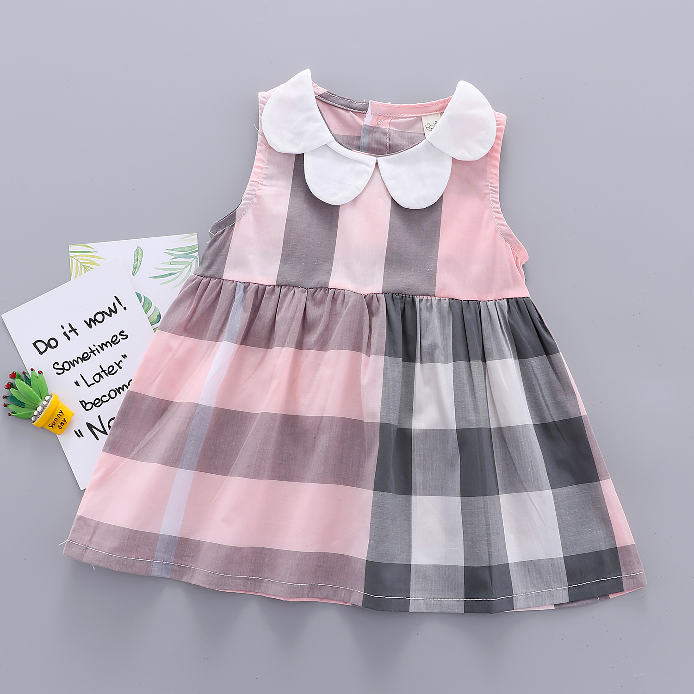 Petal Collar Plaid Color Block Dress