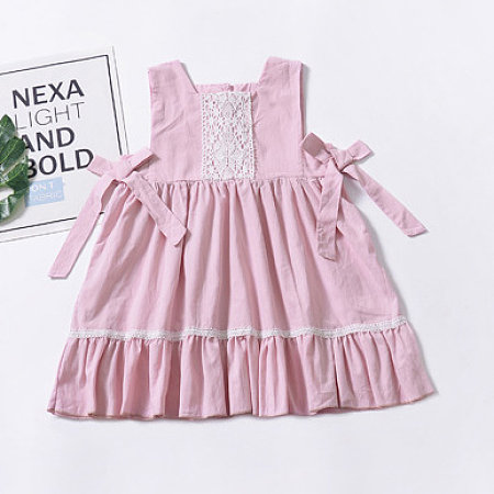 Ruffle Trim Self Tie Pink Dress, 6824346