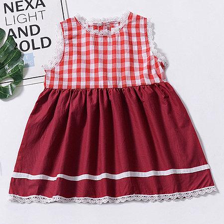 Plaid Lace Hem Button Back Dress