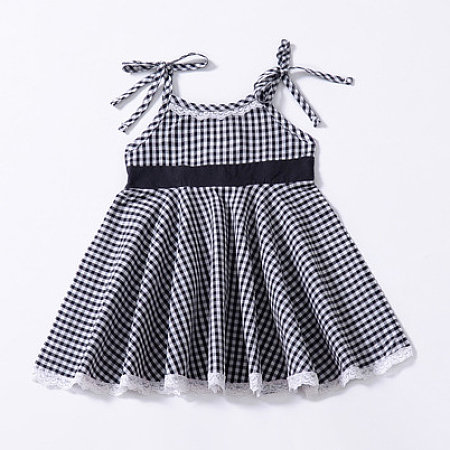 Lace Hem Plaid Cami Dress, 6840832
