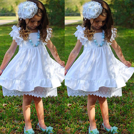 Lace Tiered Sleeve Solid White Dress