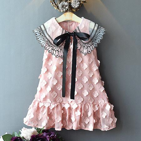 Petals Applique Self Tie Ruffle Hem Dress
