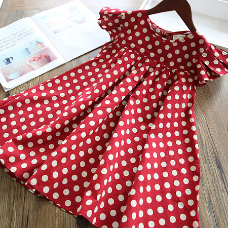 Polka Dot Fly Sleeve Self Tie Dress