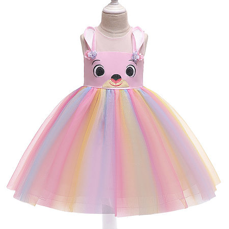 Cartoon Pattern Colorful Tulle Princess Dress