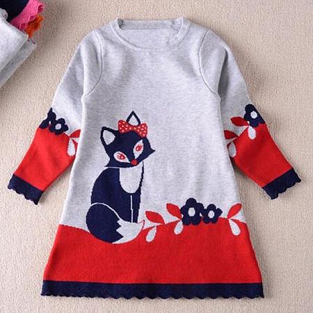 Cute Kitty And Flower Pattern Dress